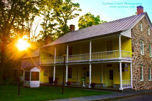 Visitor Center at Historic Huguenot Street, New Paltz, NY during sunset