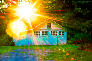 An old garage in New Paltz, NY during sunset