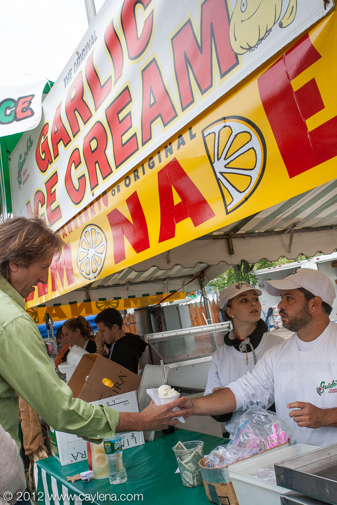 Guido's of Kingston offers its infamous garlic flavored ice cream to people at the Garlic Festival in Saugerties. (Sept. 29, 2012)