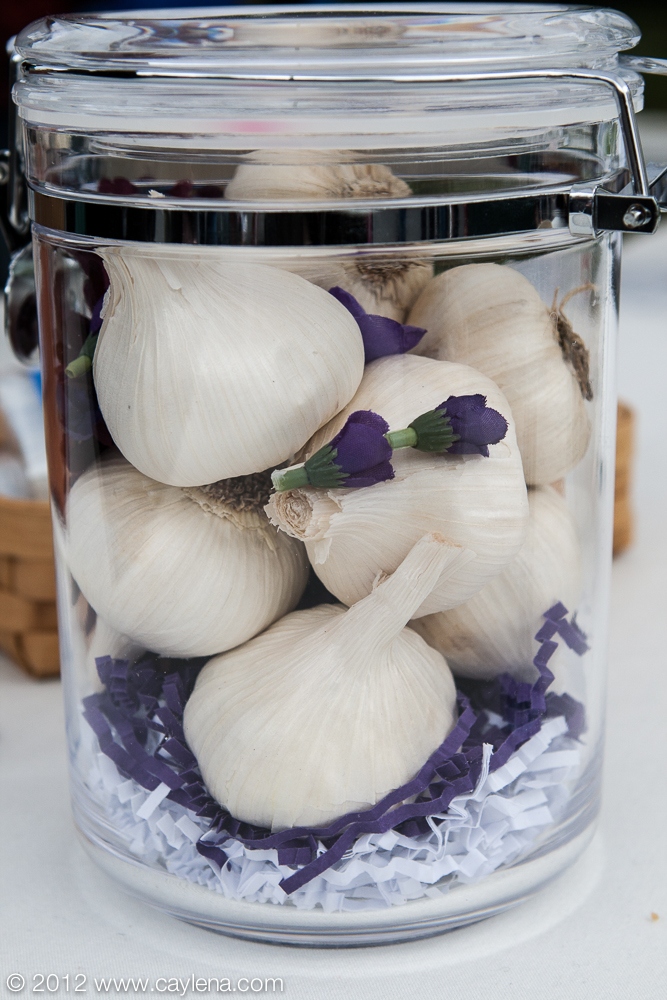 A garlic display at from dreamPuff Marshmallows, a company that offers exotic marshmallow flavors, including garlic, special for the Garlic Festival in Saugerties. (Sept. 29, 2012)