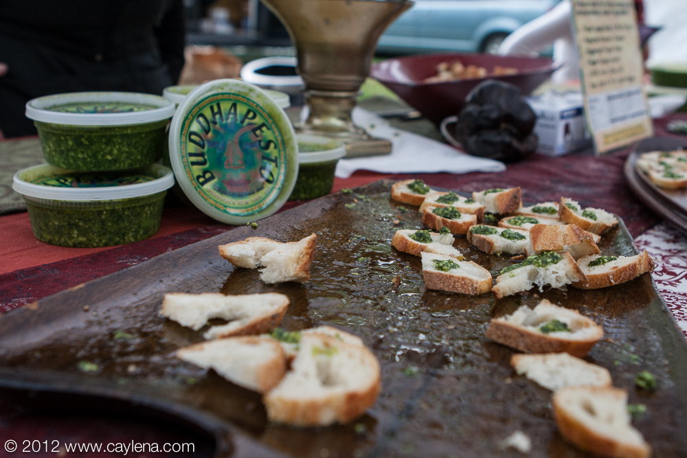 Buddhapesto, a company out of Woodstock, offers samples of its pesto Saturday during the Garlic Festival in Saugerties. (Sept. 29, 2012)