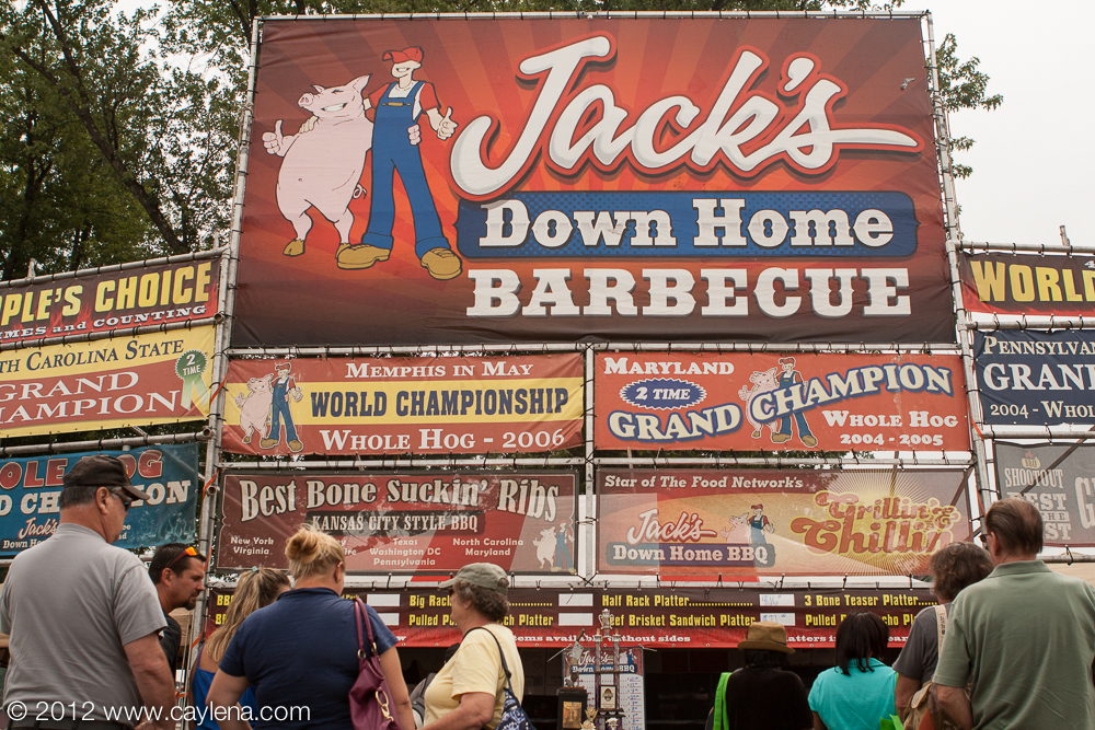 The scene in front of Jack's Down Home Barbecue station on Sunday at the Hudson Valley Rib Fest in New Paltz. (August 19, 2012)