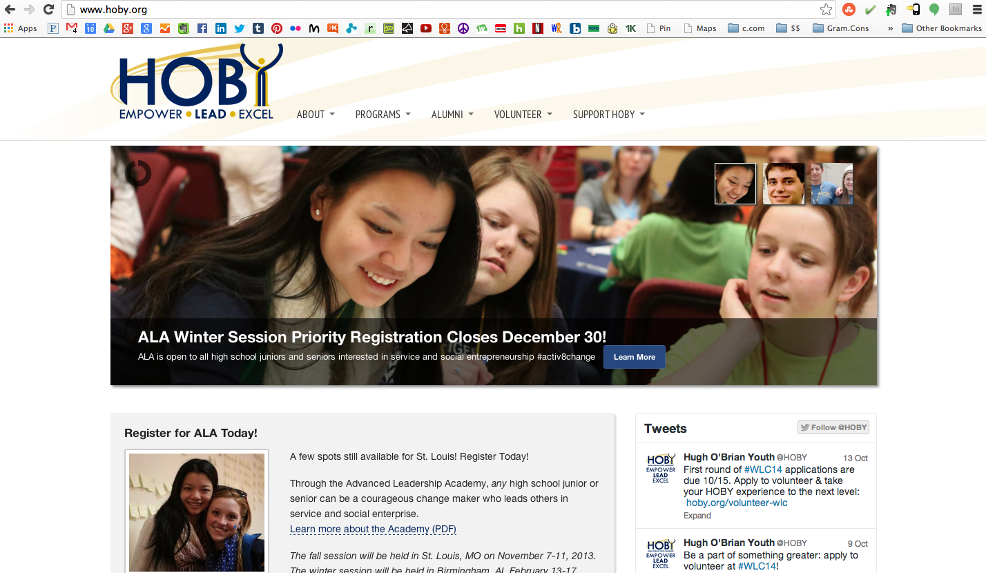 My photos from the inaugural HOBY ALA in Feb/March 2013 in Maryland, on HOBY's website. [Conference Photography by CC Photo & Media]