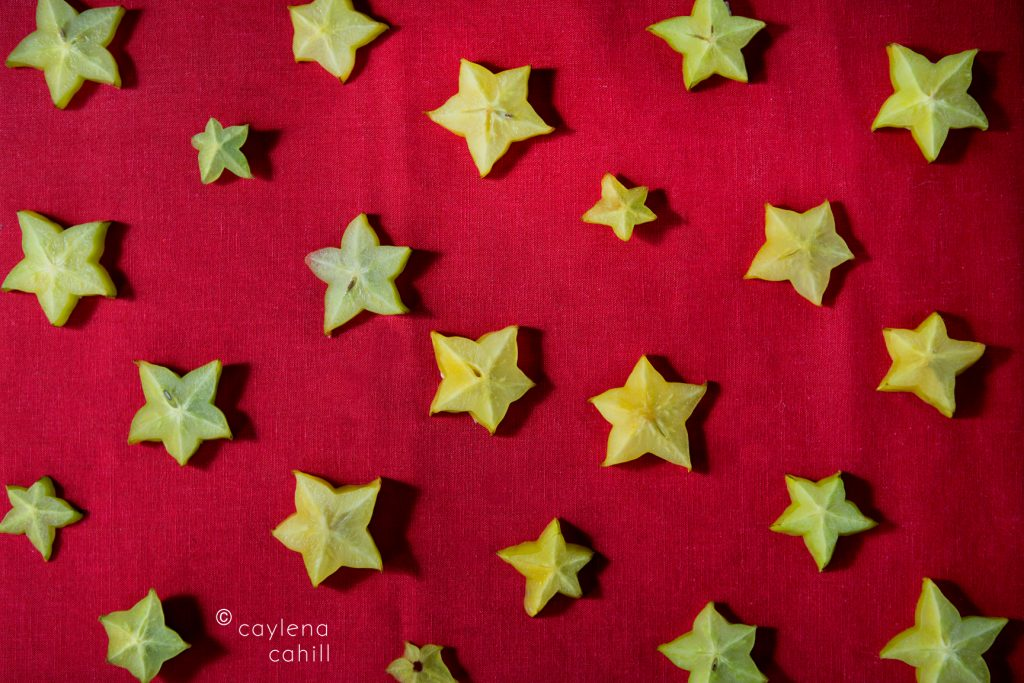 festive food photography from star fruit for christmas