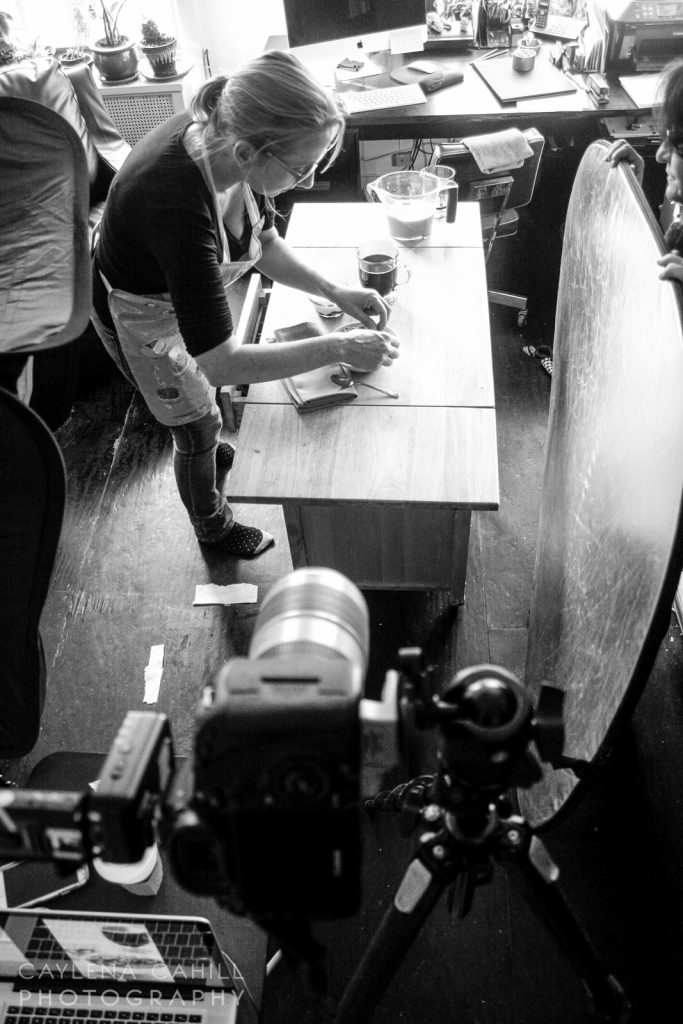 NYC Food Stylist, Jill Keller, preps food for a shoot with Hudson Valley food photographer, Caylena Cahill.