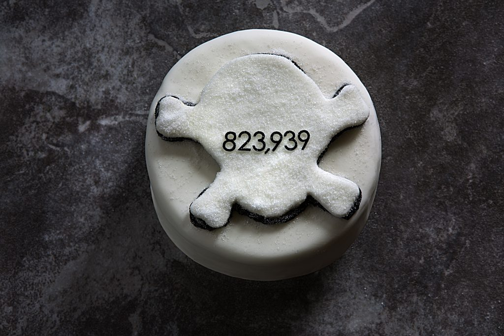 Sugar related deaths - Number on a cake with skull