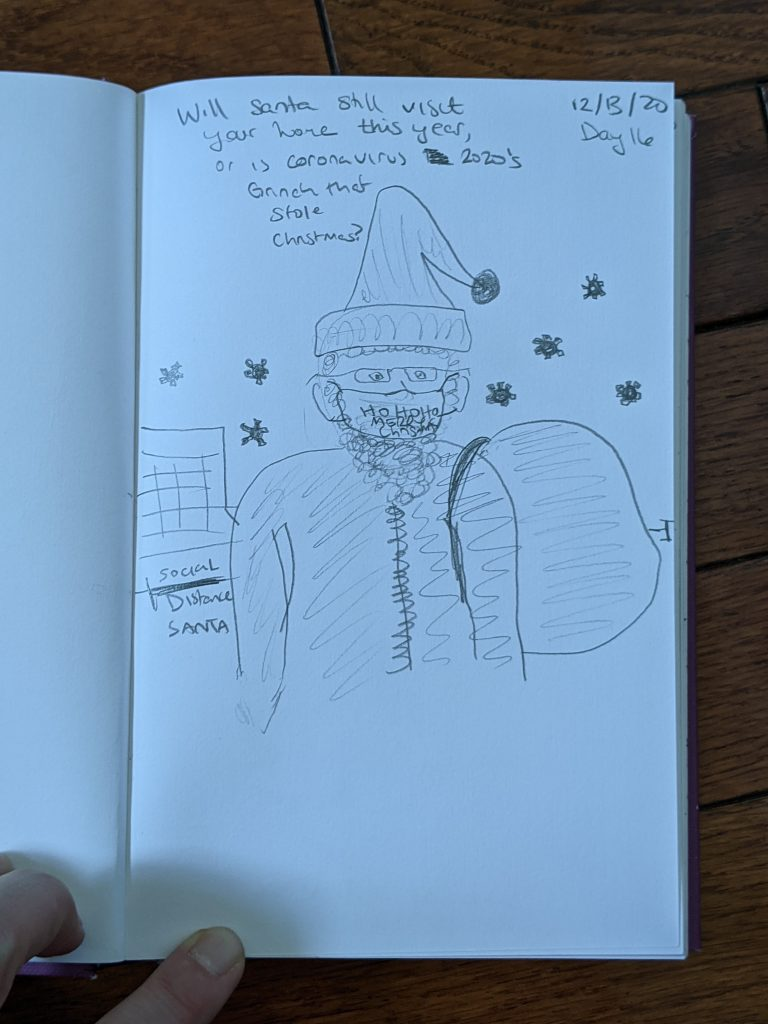 personal sketch/illustration inspired by coronavirus pandemic santa christmas 2020