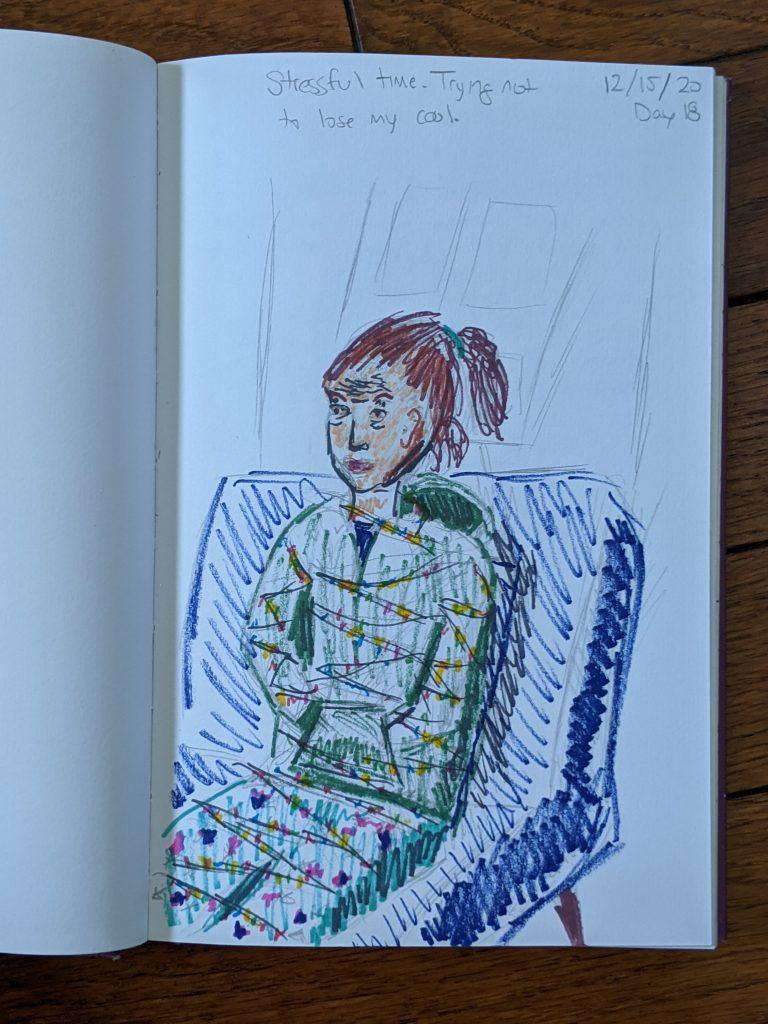 personal sketch/illustration inspired by coronavirus pandemic stress